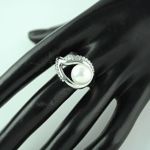 blad och pärla ringar, fina ringar smycken för kvinnor, rhinestone charm legering smewellery.rn-494
