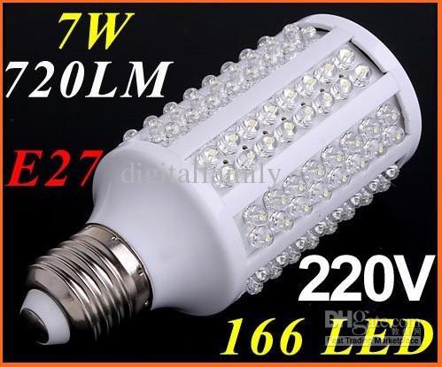 Billig led lampe weißen scheinwerfer 360 grad led beleuchtung maisbirne e27 720lm 220 v / 110 v 7 w 166 led