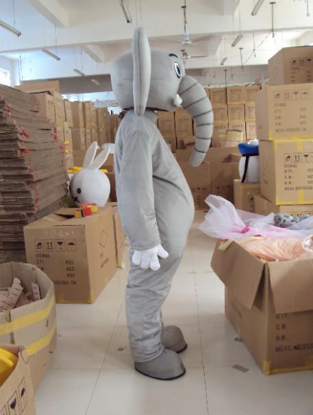 Volwassen aangepaste pluche grijze olifant mascotte kostuums gratis verzending