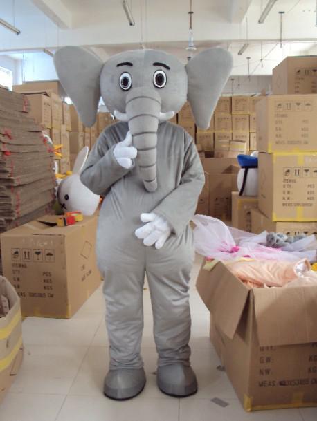 Vuxen Custom Plush Grey Elephant Mascot Kostymer Gratis frakt