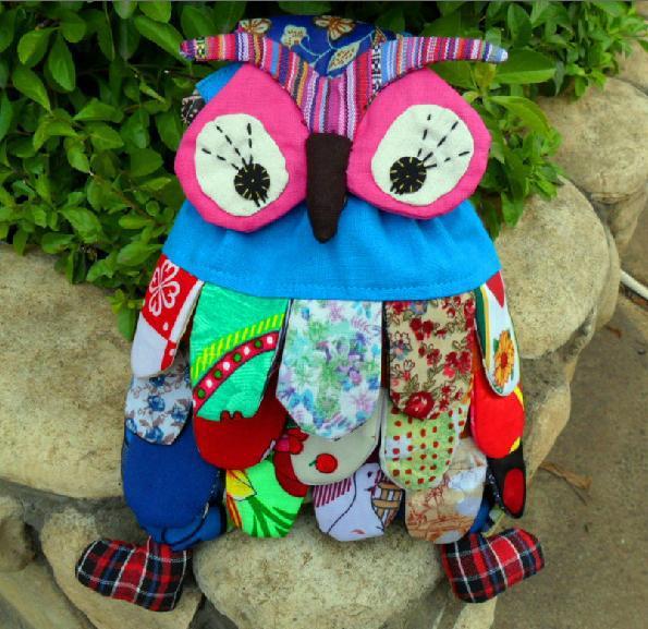 Hot Sale Cute Handmade Children Owl Backpack Bag Fabrics National Style Baby School Bags