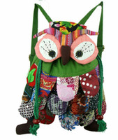 Wholesale Colour Backpack - OWl style colorful bag Modern Vintage National characteristics patchwork Owl Backpacks 10 colours