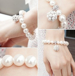 personalized ornaments 2019 - Hot New Personalized Pearl Ball Bracelet Korean lady sweet ornaments jewelry Beaded Strands Bracelets Pearl Bracelets 32