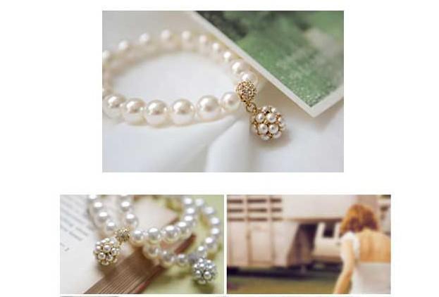 熱い新しいパーソナライズされた真珠のボールブレスレット韓国の女性甘い飾り宝石ビーズストランドブレスレットパールブレスレット325