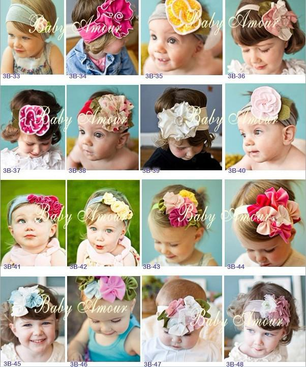 Hair band head new top baby hair band girls' large flower crochet hair bow clip baby headband kid