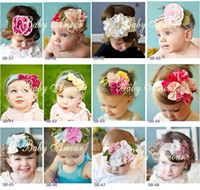 Wholesale Girl Flower Crochet Top - Hair band head new top baby hair band girls' large flower crochet hair bow clip baby headband kid