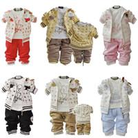 erkek çocuk takımları toptan satış-Erkek bebek Takım Elbise 3 Adet Set Çocuk Uzun Kollu Mektuplar Tasarım Giyim + T Gömlek + Pantolon Erkek Eşofman
