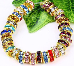 wheel gold 2019 - 300PCS* 6MM Wheel-shaped Crystal Spacer Beads Gold Plated, Mixed Color Rhinestones Gem Findings cheap wheel gold