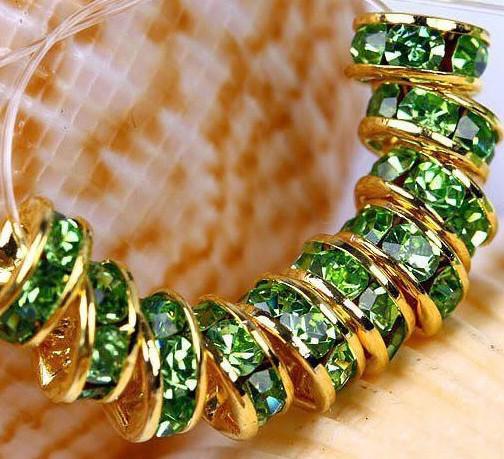 300PCS * 6MM en forme de roue Spacer Beads plaqué or, couleurs mélangées strass Gem Gemmes