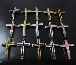 Wholesale Side Ways Metal Crosses - 100PCS* mix colores sideways Curved Side Ways Crystal Cross Bracelet Connector Charm Bead