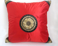 Wholesale Embroidered Sofa Fabrics - Red Happy Cushion Covers for Sofa Chair Car Cheap Chinese style Satin Fabric Sun Pattern Pillow Cases for Festive Decorative