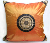 Wholesale Cover Chair Cushions - Cheap Ethnic Orange Pillow Cushion Cover for Sofa Seat Chair Car Chinese style Satin Pillow Case 17 x 17 inch 2pcs lot