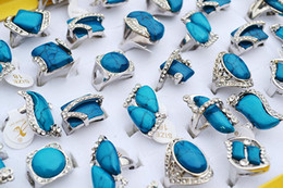 Wholesale Antique Cz Ring - antique indian jewellery Rings Large CZ rhinestone Turquoise Natural Stone Silver Plated Rings