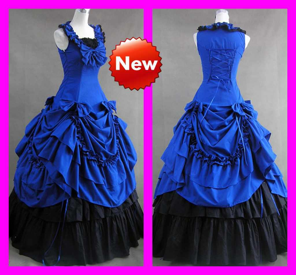 Discount Royal Blue Grace A Line Square Floor Length Ruffle Gothic Victorian Wedding Dresses Lolita Cosplay Dress High Street From: Blue Victorian Wedding Dresses At Websimilar.org