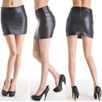 Wholesale Faux Wrap Dresses - Korean Short Dress Faux Leather Dress High-cut Mini Skirt Wrap Hip