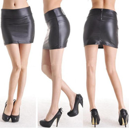Wholesale Knee Skirts - Korean Short Dress Faux Leather Dress High-cut Mini Skirt Wrap Hip
