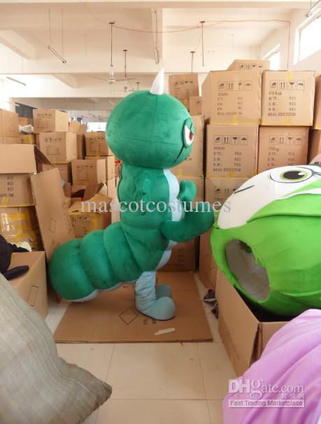 Vuxenstorlek Custom Green Worm Mascot Kostymer Gratis frakt Anpassad Gjorda någon storlek någon färg