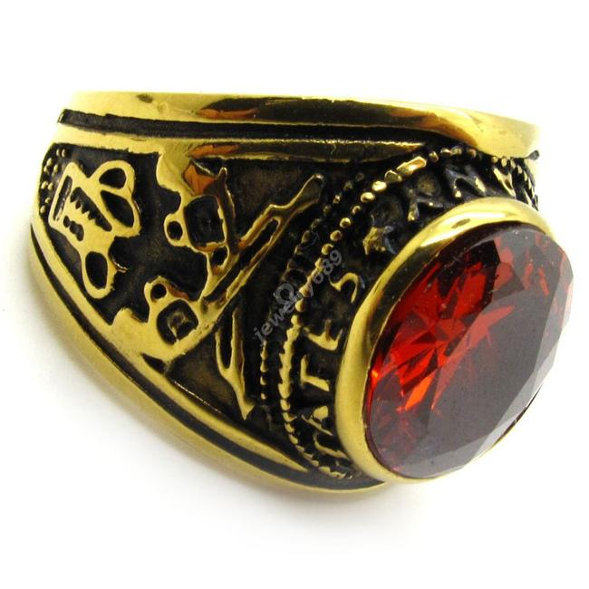 Whosale Price Red Cz Ruby Women S Men S Ring Royal Gold