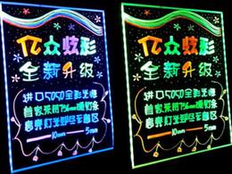 benutzerdefinierte buchstaben zeichen Rabatt 10% Rabatt von 60 * 80CM führte fluoreszierende Platte Tablette Werbetafeln mit HighlighterBracket