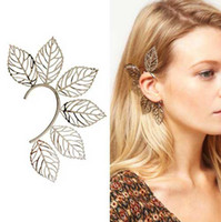 Wholesale Wholesale Unique Ear Cuffs - New style Unique Big Leaf EAR CUFF Ear Cuff Earrings Beautiful charming ear cuff earring Studs#6127