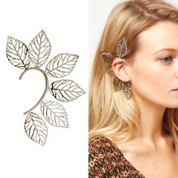 Wholesale Big Unique Earrings - New style Unique Big Leaf EAR CUFF Ear Cuff Earrings Beautiful charming ear cuff earring Studs#6127