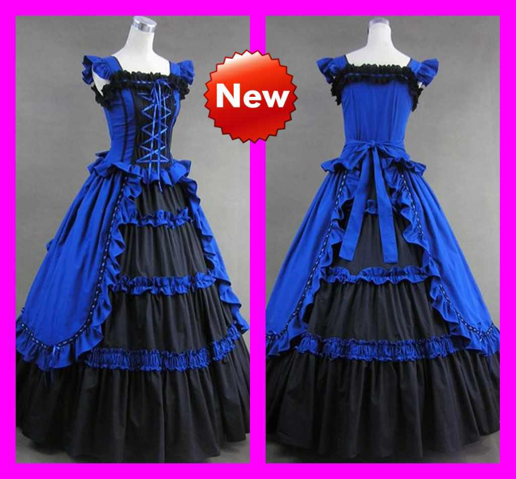 Blue Black Dropped Bodice Cosplay Ball Gown Tiers Custom Costumes ...