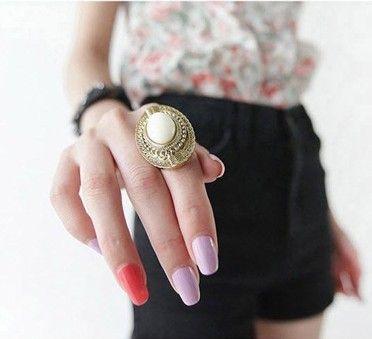 Meest populaire vintage ovale gesneden edelsteen ringen stijlvolle snoep kleur verstelbare vrouwen 60 stks