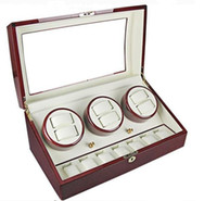Wholesale Mens Watch Winder - LUXURY RED WOODEN 6 AUTO AUTOMATIC WOMENS WATCH WINDER DISPLAY 7 STORAGE BOX MENS WATCHES
