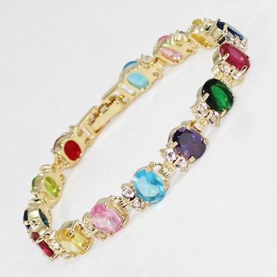 Partihandel Billiga 1 st 18kgp Guldpläterad Multicolor CZ Crystal Link Armband