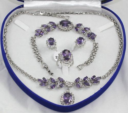 groothandel mooie paarse kristallen zilveren ketting armband oorbellen ring / edelsteen sieraden sets
