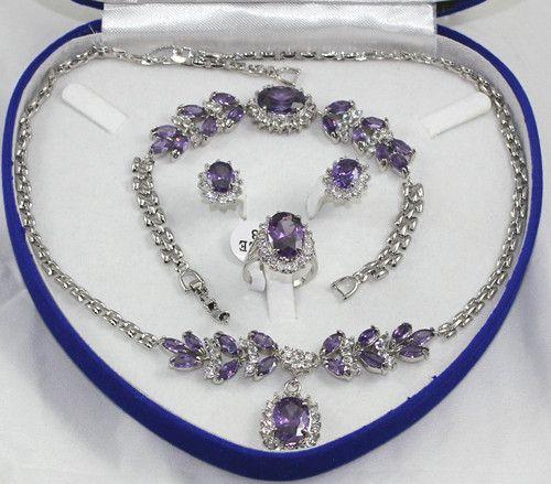 Partihandel ganska lila kristall silver halsband armband örhängen ring / ädelsten smycken set