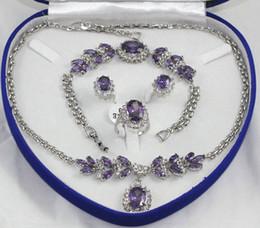 Crystal Gemstone Necklace Set Canada - wholesale pretty Purple crystal Silver Necklace Bracelet Earrings Ring  Gemstone Jewelry Sets