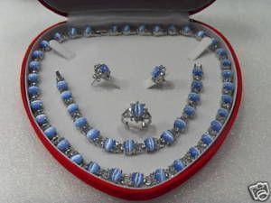 Echtblauwe opaal zilveren armband ketting ring oorbellen / edelsteen sieraden sets