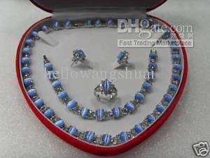 orecchini dell'anello della collana del braccialetto opalino blu-argento genuino / della pietra preziosa I monili