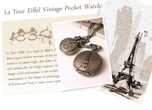 10pcs* Eiffel Tower Retro pocket watch pendant necklace table alloy necklace Sweater chain