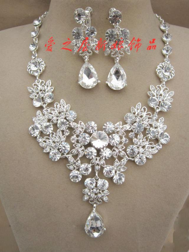Rhinestone Necklace Earring Set Bridal Wedding Party Jewelry Accessories Cheap Sets For Brides Chunky