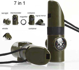 Wholesale Led Light Whistles - 7 in 1 Military Style Emergency Whistle Survival Kit Compass LED Light & More V3295