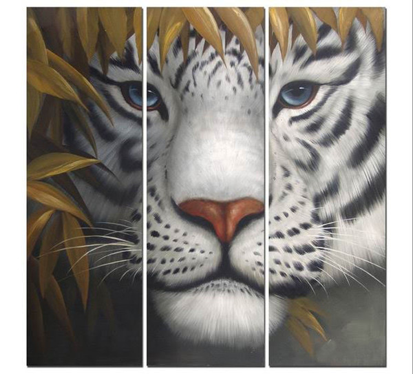 Art Modern Abstract Oil Painting Animal Painting Tiger Triptych 3 Pcs Canvas Set Huge Wall Decor Pop