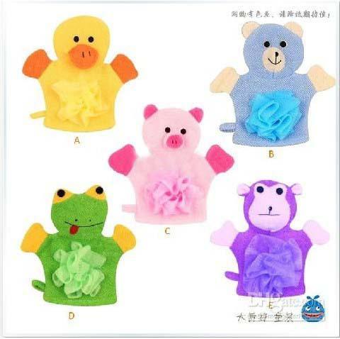 Estilo del dibujo animado de los colores del niño del frote del baño cinco de los guantes con el niño de la flor del baño, 20pcs / lot, fashion_house