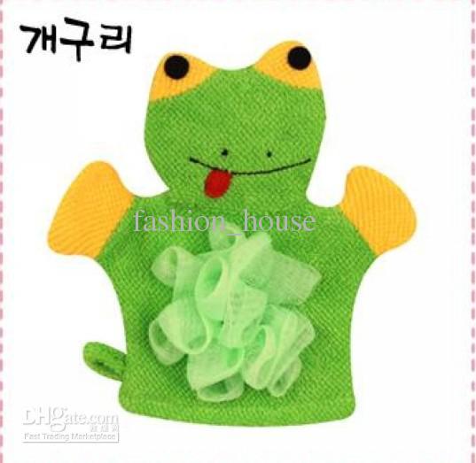 Estilo del dibujo animado de los colores del niño del frote del baño cinco de los guantes con el niño de la flor del baño, / fashion_house