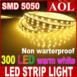Wholesale Cheap Light Ropes - Cheap LED flat rope light Warm white 5m 300leds SMD 5050 Flexible LED Strips Light DV12V non waterproof LED house lighting