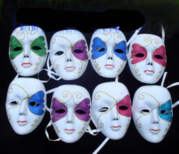 Wholesale Mardi Gras Prom Dresses - White Full Face Hip Hop Dance Masks Venetian Masquerade Party Mask Mardi Gras costume Fancy Prom Dress Carnival Wedding Gift Mix color