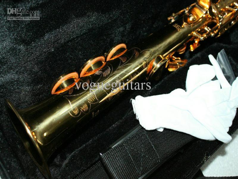 하드 케이스가있는 고품질의 Straigh 골든 소프라노 색소폰 무료 배송