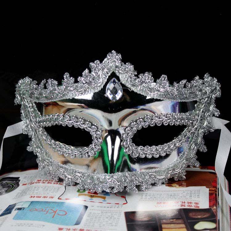 Halloween costume or masque de mascarade d'argent masque de fête de mariage demi visage nouveauté cadeau Mardi Gras costume de danse