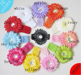 Barato Hairbows Da Flor Do Bebê-Hot venda Baby acessório 12pcs Crochet Headbands + 12pcs Gerbera Daisy Flores Baby Hairbows Headbows