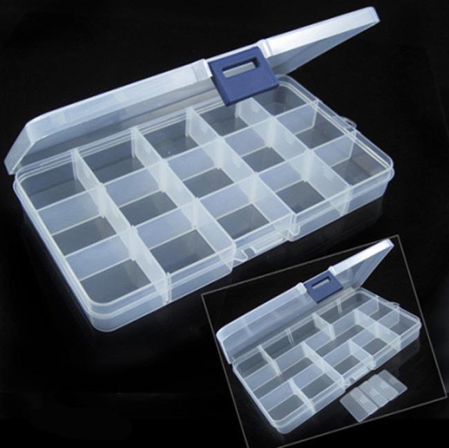 15 Slot Plastic Jewelry Adjustable Compartments Box Case Craft