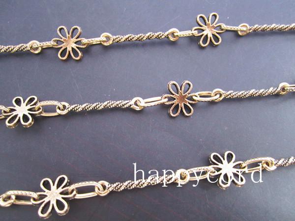 도매 - 3feet / 만드는 보석에 대 한 골동품 골드 꽃 금속 목걸이 체인