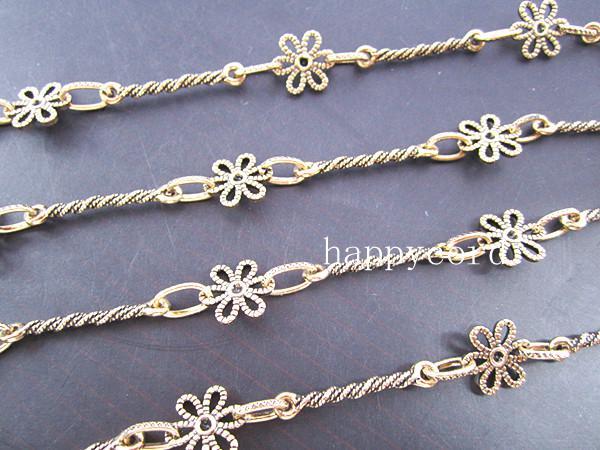 Partihandel - Antik guldblomma metall halsband kedja för smycken gör 3feet / mycket