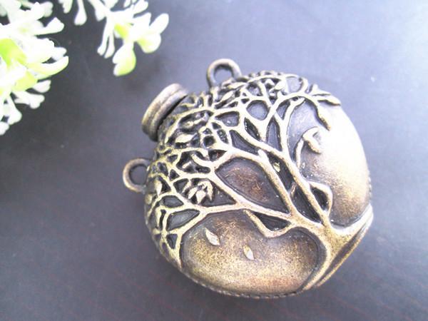Pot en bronze antique avec pendentif 42mmx43mm de charme de modèle d'arbre, accessoires de bijoux 5pcs / lot