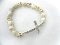 Wholesale Charms Beads Sideway - Hot Style SIDEWAY CROSS Bracelets 8x10mm White Turquoise Skull with CZ bead sideway Cross Bracelets